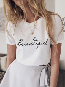 White Monogram Print Short Sleeve Fashion T-Shirt