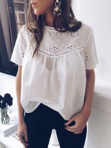 White Patchwork Cut Out Short Sleeve Elegant T-Shirt