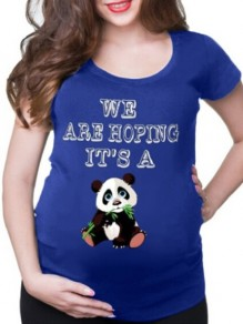 Blue Panda Monogram Print Round Neck Short Sleeve Maternity T-Shirt