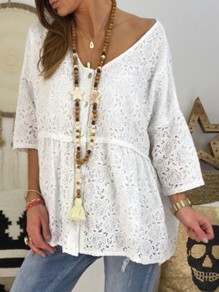 White Patchwork Lace V-neck Going out T-Shirt