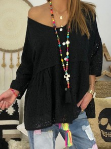Black Patchwork Lace V-neck Going out T-Shirt