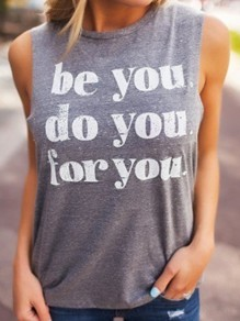 Grey Letter Vest Yoga Sport Casual Fashion Cool Girls Loose T-Shirt