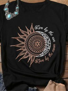 Black Sun Print Round Neck Casual Fashion Cool Girls Loose T-Shirt