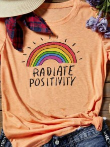 Orange Rainbow Letter Print Round Neck Casual Fashion Girls Loose T-Shirt