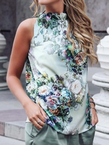 Green Floral Print Neck Strap Sleeveless Band Collar Fashion T-Shirt