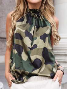 Camouflage Print Neck Strap Sleeveless Band Collar Fashion T-Shirt
