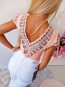 Pink Patchwork Lace Backless V-neck Short Sleeve Going out T-Shirt