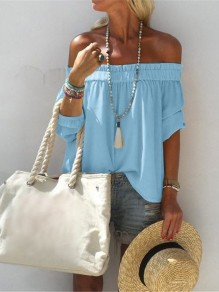 Blue Patchwork Ruffle Off Shoulder Short Sleeve Fashion T-Shirt