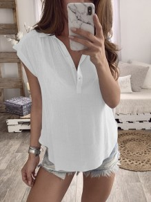 White Buttons Print Comfy Fashion Going out V-neck T-Shirt