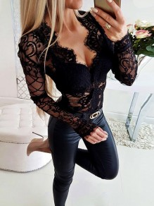 Black Lace Going out Fashion Comfy Long Sleeve T-Shirt