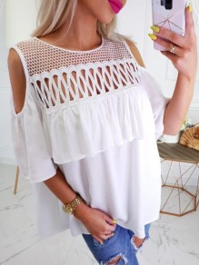 White Lace Patchwork Fashion Comfy Going out Round Neck T-Shirt