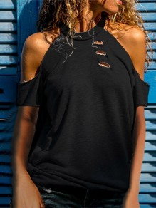 Black Cut Out Fashion Cute Comfy Going out Round Neck T-Shirt