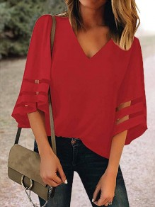 Red Cut Out V-neck Three Quarter Length Sleeve Going out Casual Women Summer T-Shirt
