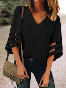 Black Cut Out V-neck Three Quarter Length Sleeve Going out Casual Women Summer T-Shirt