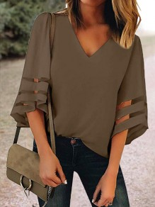 Taupe Cut Out V-neck Three Quarter Length Sleeve Going out Casual Women Summer T-Shirt
