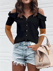 Black Cut Out Fashion Sweet Comfy Going out V-neck T-Shirt