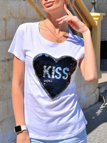 White Patchwork Sequin Embroidery Round Neck Fashion T-Shirt