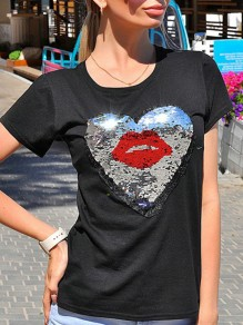 Black Patchwork Sequin Embroidery Round Neck Fashion T-Shirt