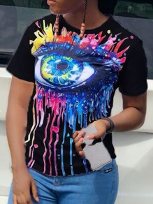 Black Tie Dyeing Devil's Eye Round Neck Short Sleeve Casual T-Shirt