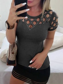 Grey Patchwork Rhinestone Cut Out Bodycon Comfy Fashion T-Shirt