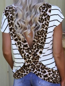 White Striped Cut Out Backless Short Sleeve Fashion T-Shirt