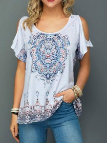 White Floral Print Cut Out Elbow Sleeve Round Neck Bohemian Summer Women T-Shirt