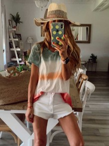 White Color Block V-neck Collarless Going out T-Shirt