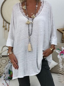 White Lace Going out Comfy Fashion V-neck T-Shirt