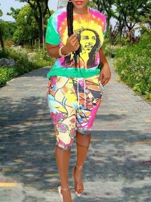 Yellow Tie Dye Bob Marley Print Round Neck Short Sleeve Casual T-Shirt