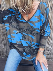 Blue Camouflage V-neck Long Sleeve Casual T-Shirt