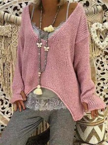 Pink V-neck Long Sleeve Going Out Comfy Sweet Fashion Oversize Sweater