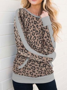 Brown Leopard Print Round Neck Long Sleeve Casual T-Shirt