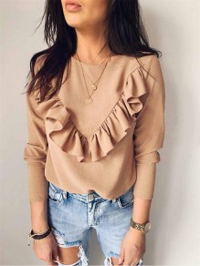 Khaki Patchwork U-neck Long Sleeve Fashion T-Shirt