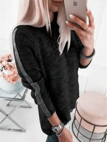 Black Going out Comfy Sweet Fashion Round Neck T-Shirt