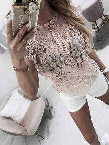 Pink Patchwork Lace Bodycon Ttrendy Sweet Going out T-Shirt