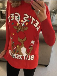 Red Cartoon Elk Print Christmas Round Neck Long Sleeve Casual Ugly T-shirt