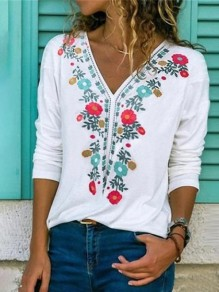 White Flowers Pattern V-neck Long Sleeve Fashion Mexican T-Shirt