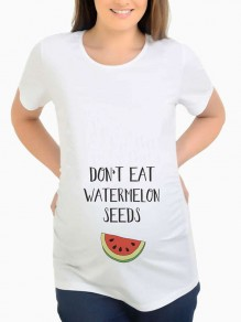 """White """"DON'T EAT WATERMELON SEEDS"""" Print Round Neck Short Sleeve Casual Maternity T-Shirt"""