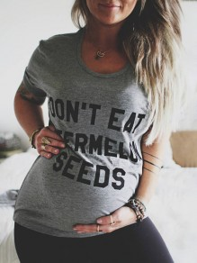 """Grey """"DON'T EAT WATERMELON SEEDS""""Print Round Neck Short Sleeve Casual Maternity T-Shirt"""