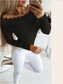 Black Patchwork Lace Off Shoulder Long Sleeve Going out Short T-Shirt