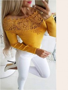 Yellow Patchwork Lace Off Shoulder Long Sleeve Going out Short T-Shirt