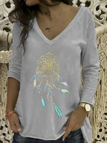 Grey Floral Pattern Bodycon Comfy V-neck Long Sleeve Going out T-Shirt