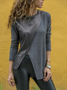Grey Irregular Slit Bodycon Round Neck Long Sleeve Going out T-Shirt