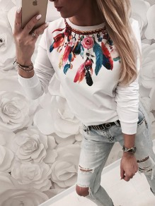 White Floral Pattern Bodycon Comfy Round Neck Going out T-Shirt
