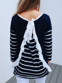 Blue Striped Ruffle Irregular Bow Round Neck Long Sleeve T-Shirt