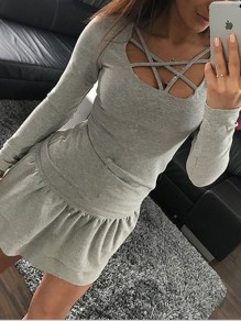 Grey Cut Out Bodycon Comfy V-neck Lace-up Going out T-Shirt