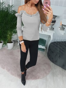 Grey Patchwork Lace Bodycon Comfy Spaghetti Strap Going out T-Shirt