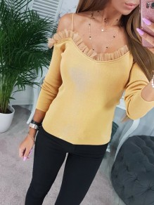 Yellow Patchwork Lace Bodycon Comfy Spaghetti Strap Going out T-Shirt