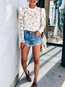 White Patchwork Lace Ttrendy Bodycon Comfy Going out T-Shirt