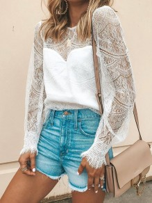 White Patchwork Lace Cut Out Bodycon Ttrendy Sweet T-Shirt
